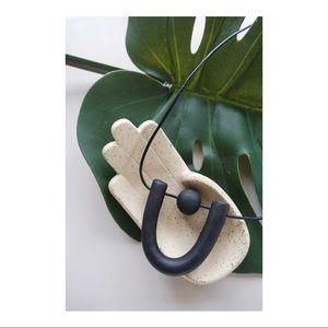 Clay Handmade Black U Necklace